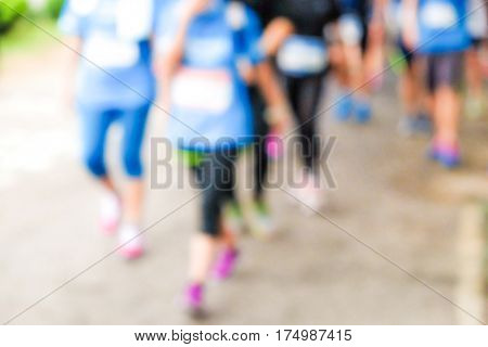 Blurred Marathonrunning Race People Competing In Park