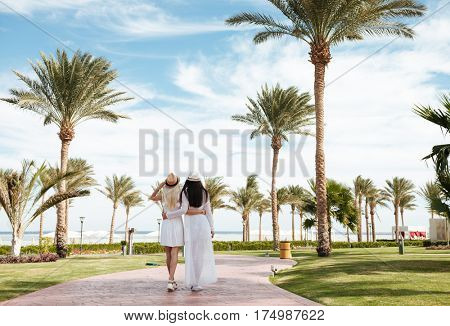Back view of two attractive young women walking and hugging on summer resort