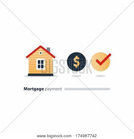 Mortgage money, budget fund plan, household expenses, housekeeping finance, rent home, real estate investment icon, insurance concept,  income vector illustration