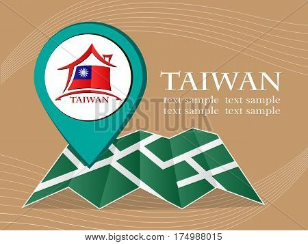 map with pointer flag Taiwan vector illustration eps 10.