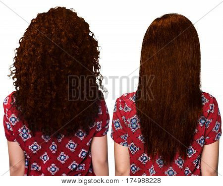 Hair before and after straightening over white background