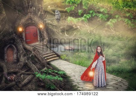 Beautiful woman in medieval dress and cloak in fantasy forest with stone road