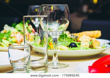 Festive Laid Table With Food And Drink