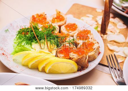Sandwiches With Red Caviar, Lemon And Parsley