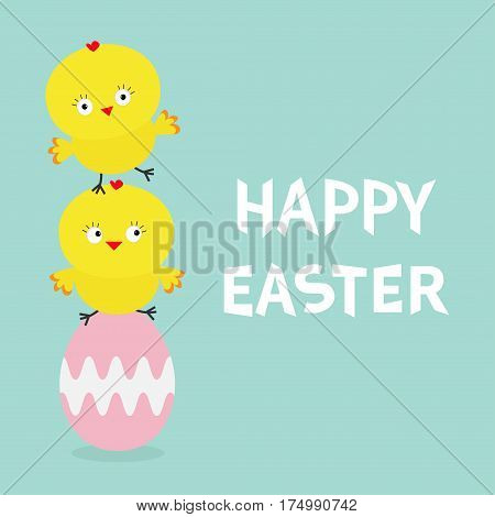Two baby chick bird friends sitting on painting pink egg. Happy Easter Chicken pyramid family set. Farm animal. Cute cartoon funny character. Greeting card. Blue background. Flat design. Vector