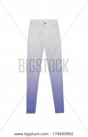 Women's High Waist White Blue Gradient Jeans Pants, Isolated On White Background