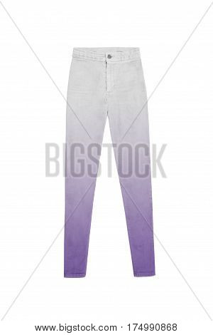 high waisted white grey purple gradient jeans pants isolated on white background