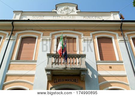 La Morra, Italy - 15 July 2010: The elementary schools of La Morra in Piedmont Italy