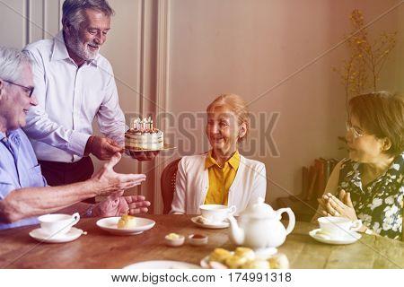 Gradient Color Style with Senior Life Celebration Cake Birthday