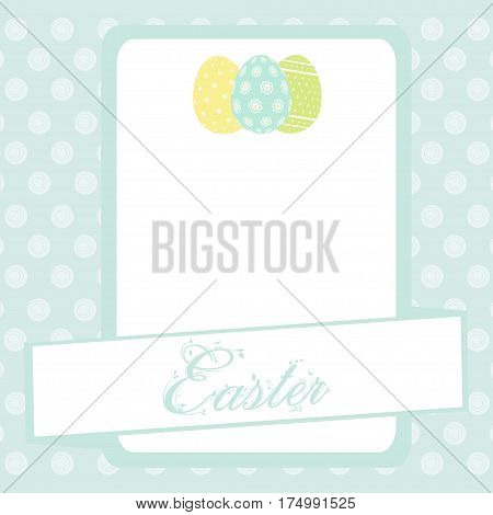 Blue Easter Banner Copy Space with Eggs and Floral Text