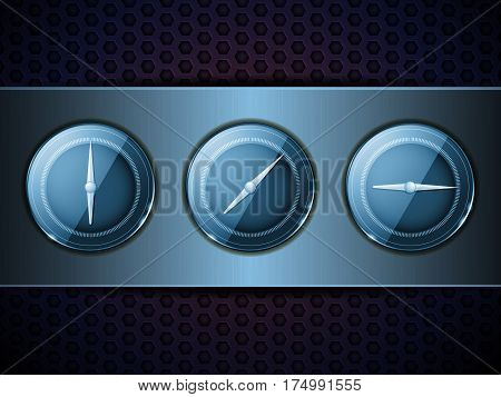 3D Illustration of Three Blue Dials on Over Blue Brushed Metallic Panel on Metal Honeycomb Background