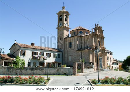 Penango, Italy - 17 July 2010: The church of San Grato at Penango on Piedmont Italy
