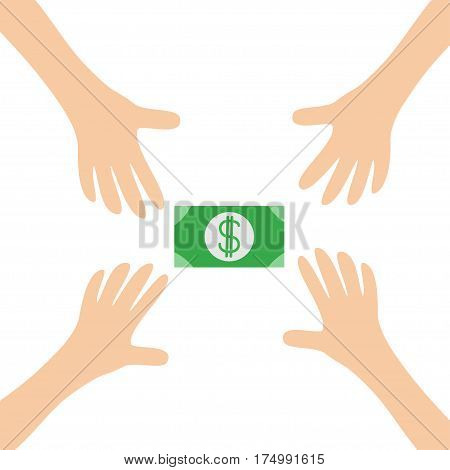 Four Hands arms reaching to cash paper green money dollar sign symbol. Taking hand. Close up body part. Business card. Flat design. Wealth concept. White background. Isolated. Vector illustration