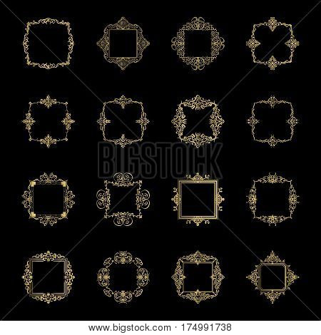 Gold Vintage decor elements and wicker lines in vector. Decoration of logo, page, wedding album or restaurant menu in huge set on a black backdrop. Flourish old design signs and classic style motifs