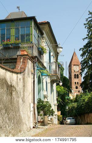 Rivoli, Turin, Italy - 15 July 2010: View of the old town centre in Rivoli Turin Italy
