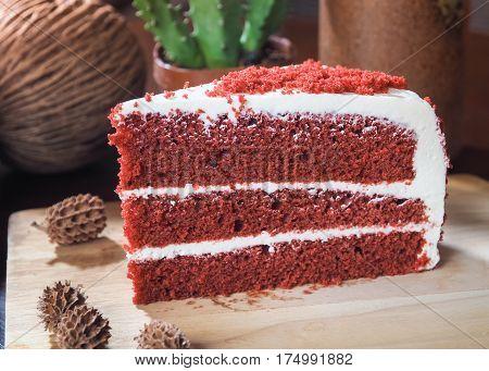 Red velvet chocolate cake on wooden plate