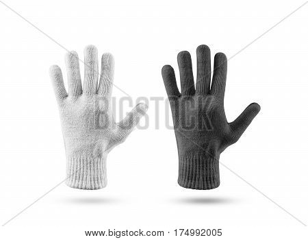 Blank knitted winter gloves mockup set, black and white. Clear ski or snowboard mittens mock up, isolated on white. Warm hand clothes design template. Plain arm accessory presentation for branding.