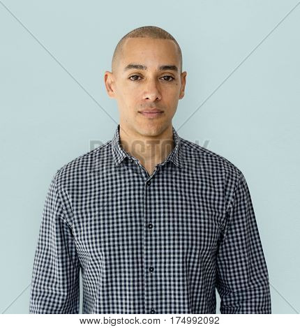A guy staring in a studio shoot