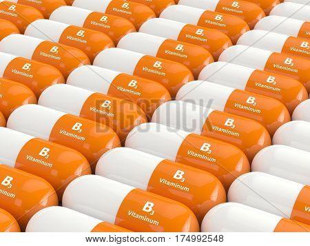 3d Render Of Vitamin B3 Pills In Row
