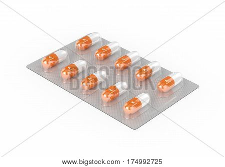 3d Render Of Vitamin B3 Pills On Blister