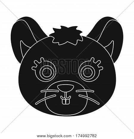 Mouse muzzle icon in black design isolated on white background. Animal muzzle symbol stock vector illustration.