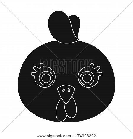 Hen muzzle icon in black design isolated on white background. Animal muzzle symbol stock vector illustration.