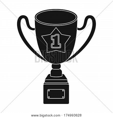 Gold Cup of the winner on a wooden stand with the inscription.The reward for first place.Awards and trophies single icon in black style vector symbol stock web illustration.