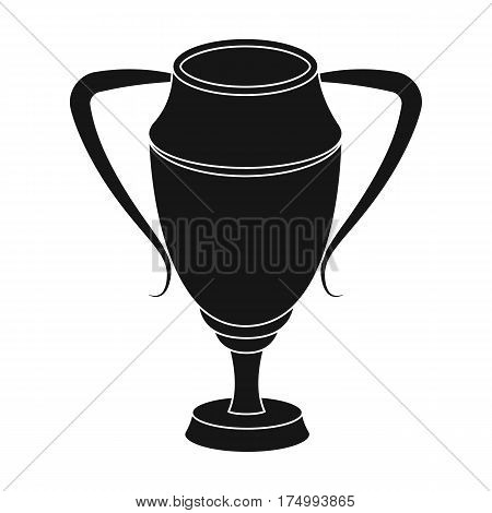 Silver Cup.Award the winner of the competition for second place.Awards and trophies single icon in black style vector symbol stock web illustration.