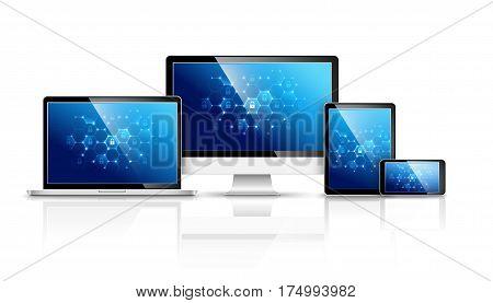 Modern device design, Internet security, Global network. Vector illustration