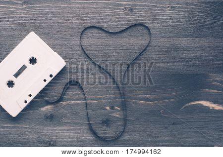 White Tape On A Dark Wooden Background