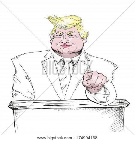 MARCH 2 2017: Vector portrait of Mr. Donald Trump. President of the U.S.A. Editorial vector illustration. Trump politician president billionaire.