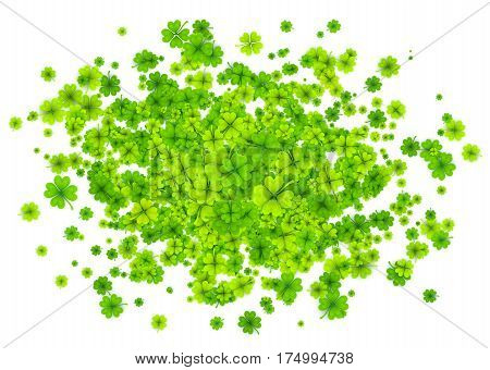 Vector green four-leaf clovers cloud splash isolated on white background