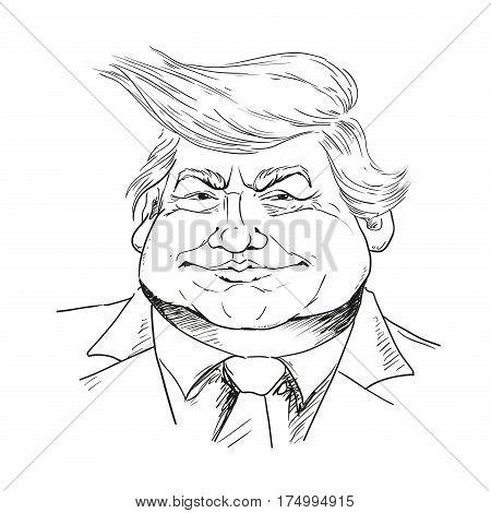 MARCH 6 2017: Vector portrait of Mr. Donald Trump. President of the U.S.A. Editorial vector illustration. Trump politician president billionaire.