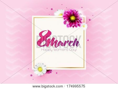 Round banner with the logo for the International Women's Day on sun breams background. Flyer for March 8 with the decor of flowers. Invitations with frame of spring flowers. Vector.