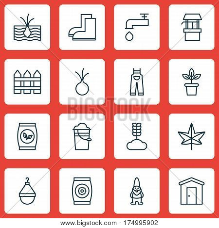 Set Of 16 Planting Icons. Includes Bucket, Grains, Water Source And Other Symbols. Beautiful Design Elements.