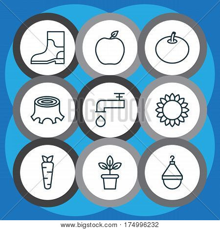 Set Of 9 Farm Icons. Includes Spigot, Root, Flowerpot And Other Symbols. Beautiful Design Elements.