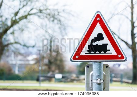 Train Sign Warning Red Caution Traffic Law Rules Triangle Metal Bright Outdoors Crossing