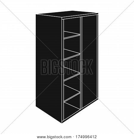 Light Cabinet with bins and mirror.Wardrobe for women's clothing.Bedroom furniture single icon in black style vector symbol stock web illustration.