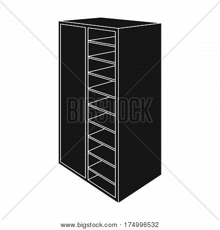 A brown wooden bookcase with many books on its shelves. Home library. Love reading. Large brown bookcase.Bedroom furniture single icon in black style vector symbol stock web illustration.
