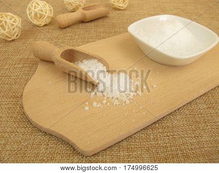 Fleur de Sel sea salt on wooden board