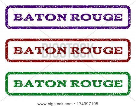Baton Rouge watermark stamp. Text caption inside rounded rectangle frame with grunge design style. Vector variants are indigo blue red green ink colors. Rubber seal stamp with dust texture.