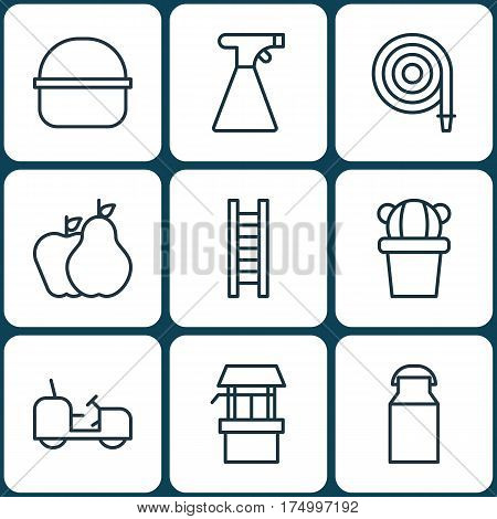 Set Of 9 Garden Icons. Includes Package, Water Source, Jug And Other Symbols. Beautiful Design Elements.