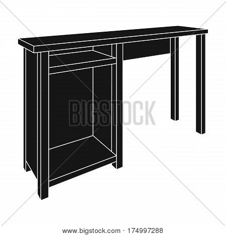 Wooden table legs.Table for drawing pictures.Table with drawers sketch icon for infographic, website or app.Bedroom furniture single icon in black style vector symbol stock web illustration.