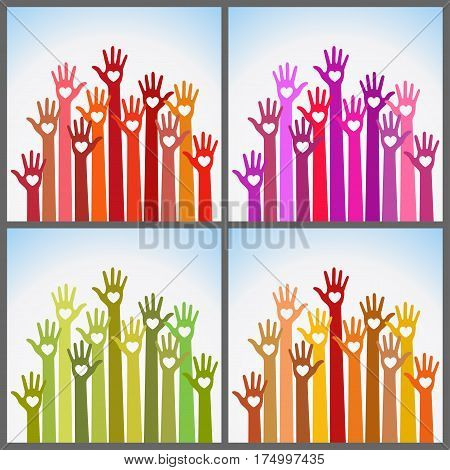 Set of bright colors colorful caring up hands hearts vector logo design element. Volunteers hands up with heart emblem icon for education, health care, medical, volunteer, vote.