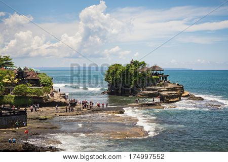 Tanah Lot Temple is one of Bali's most important landmarks, famed for its unique offshore setting and sunset backdrops. Tanah Lot temple is a popular tourist attraction.