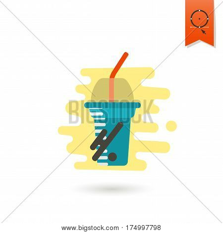Disposable Cup with Lid and Straw. Dessert Icon in Simple, Minimalistic and Modern Flat Design Style for Candy Shop. Colorful