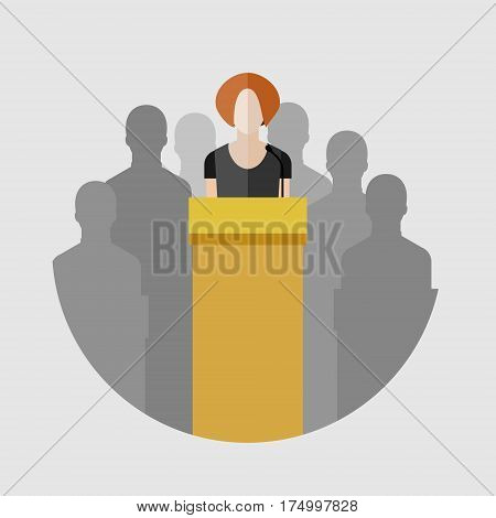Concept of election debates or press conference. Woman on the podium. Flat design, vector illustration.