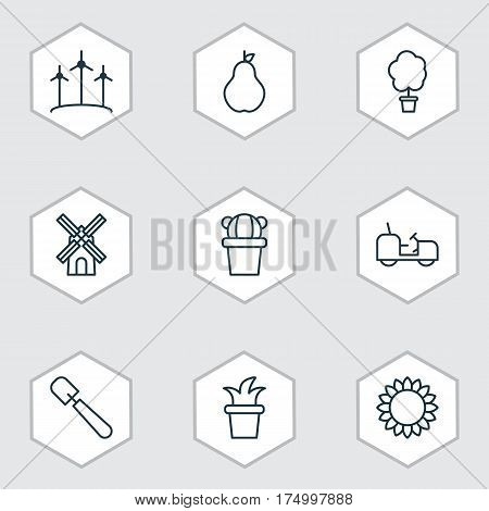 Set Of 9 Farm Icons. Includes Desert Plant, Wood Pot, Bush Pot And Other Symbols. Beautiful Design Elements.