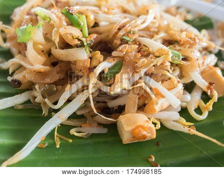 pad thai noodles closeup on banana leaf. Thai food.