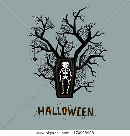 Halloween illustration. A skeleton in a coffin. Poster for Halloween Party Night. Flat design, vector illustration.